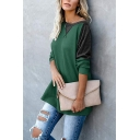 Womens Simple Colorblock Patched Long Sleeve Dark Green Oversized Basic T-Shirt