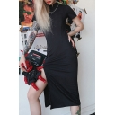 Womens Popular Plain Black Mandarin Collar Short Sleeve High Split Midi Party Dress