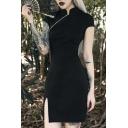 Womens Popular Stand Collar Oblique Zip Short Sleeve Split Hem Mini Black Cheongsam Dress