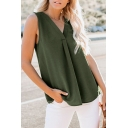 Womens Elegant V-Neck Sleeveless Loose Fit Solid Color Chiffon Tank Top
