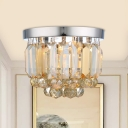 Mini Round Corridor Flush Light Clear/Smoke Gray/Cognac Crystal 2 Lights Simple Flush Ceiling Light Fixture