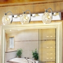 Domed Wall Lamp Vintage Style Stainless Steel 3 Bulbs Silver Vanity Lighting with Clear Crystal Accent, Warm/White Light