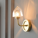 Crystal Ice-Shaped Wall Sconce Light Postmodern 1 Light Gold Wall Mounted Lighting