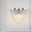 Chrome Tassel Wall Sconce Light Contemporary 2 Lights Aluminum Wall Mount Light for Bedroom