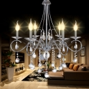 Silver 6 Heads Hanging Light Traditional Metal Candle Chandelier Light Fixture with Crystal Ball Decoration