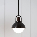 1 Head Dining Room Hanging Lamp Contemporary Black Pendant Light with Dome Metal Shade, 8
