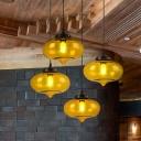 Onion Hanging Ceiling Light Modern Gray/Red/Yellow Glass 1 Head Restaurant Pendant Light Fixture