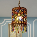 Iron Shade Drum Pendant Lamp 1/3 Lights Bohemia Hanging Ceiling Light in Antique Copper, 6.5