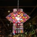 Bohemia Lantern Hanging Pendant Light Metallic 1 Light Indoor Suspension Light in Copper