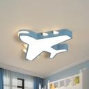 19.5/23.5 Inch Wide White/Blue Airplane Flush Mount Fixture Acrylic Modernism LED Flush Light in Warm/White Light