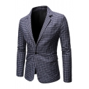 Mens Leisure Plaid Pattern Notched Lapel Long Sleeve Slim Fitted Side Split Classic Blazer