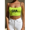 Green Hot Sleeveless Letter GIA ARMY Printed Cotton Slim Fit Crop Cami for Girls