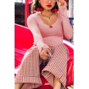 Cute Pink Long Sleeve Scoop Neck Cherry Embroidered Stringy Selvedge Ruched Slim Fit Crop T-Shirt for Girls