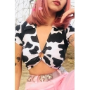 Female Unique Street Short Sleeve Deep V-Neck O-Ring Cow Printed Ruched Slim Fit Crop Tee in Black