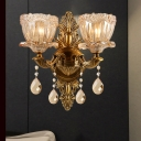 Brass Flower Sconce Light Contemporary 1/2 Heads Amber Glass Wall Mounted Light with Teardrop Crystal Accent