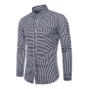 Mens Stylish Stripe Printed Long Sleeve Single Breasted Slim Fitted Shirt