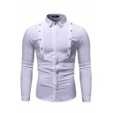 Mens Designer Button Embellished Front Long Sleeve Turndown Collar Solid Color Fitted Shirt