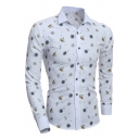 Mens Classic Ship Anchor Pattern Long Sleeve Single Breasted Button Up White Shirt