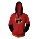 New Stylish Logo Print Color Block Patchwork Long Sleeve Side Pockets Zip Up Sports Hoodie