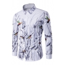 Mens Casual Flower and Bird 3D Printed Long Sleeve Single Breasted White Shirt