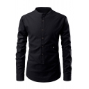 Mens Vintage Plain Mock Neck Long Sleeves Button Front Slim Fit Casual Shirt
