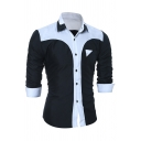 Simple Contrast Splicing Turndown Collar Long Sleeve Button Up Fitted Shirt for Men