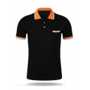 Mens Popular Contrast Lapel Collar Short Sleeve Button Front Slim Fit Sports Polo Shirt