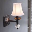 Modernist Bell Wall Light Sconce Fabric 1 Head Corridor Wall Lamp in Black Finish