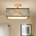 3 Lights Semi Flush Mount Lamp Rustic Cuboid Flaxen Fabric Ceiling Mounted Light