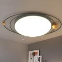 Gray/Green/White Round Flush Light Modernist 21