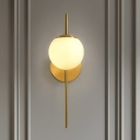1 Bulb Wall Mounted Lamp Minimal Sphere White Frosted Glass Sconce Lighting with Gold Gooseneck Arm