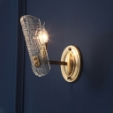 1/2 Lights Clear Water Glass Wall Lamp Contemporary Gold Curved Living Room Sconce Light Fixture