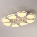 Heart Shape LED Ceiling Light Acrylic 8-Head Modern Flush Mount Light with Crystal Drop, Warm/White Light