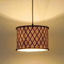 Brown Drum Hanging Light Asian 1 Light 12