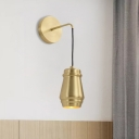1 Light Bottle Sconce Lamp Minimalist Gold Finish Metallic Wall Mount Lamp with Arm