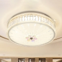 Drum Flush Light Fixture Simple Clear Faceted Crystal White LED Ceiling Lamp in Warm/White/Blue Light