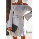 Fashion Plain Off the Shoulder Bell Sleeve Tied Waist Mini A-Line Sweater Dress