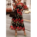 Dressy Fashion Women's Black Bell Sleeve Crew Neck Floral Print Zip Back Sheer Mesh Pleated Two-Piece Maxi A-Line Dress