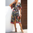 Summer Casual Short Sleeve Surplice Neck Floral Patterned Tied Slit Front Midi A-Line Dress for Ladies