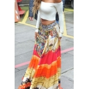 Women's Ethnic High Waist Floral Patterned Maxi A-Line Bohemian Skirt in Orange