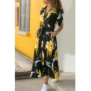 Gorgeous Ladies Long Sleeve Lapel Collar Floral Bow Tie Waist Button Down Slit Front Maxi Flowy Shirt Dress
