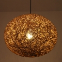 Brown Rattan Pendant Lighting with Oval Shade Single Light Indoor Modern Hanging Ceiling Light