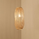 Wood Cylinder Pendant Lighting Chinese Style Adjustable 1 Head Indoor Suspension Lamp for Restaurant, 8