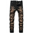 Mens Cool Girl Star Letter Printed Zipper Placket Tapered Pants Black Jeans for Nightclub