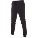 British Style Solid Color Drawstring Waist Zipper Cuff Mid-Waist Leisure Trousers