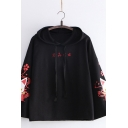 Stylish Japanese Letter Embroidery Cartoon Fox Printed Long Sleeve Loose Pullover Hoodie