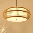 Asian Style Round Pendant Lighting with Diffuser Bamboo 3 Bulbs Hanging Ceiling Light, 18
