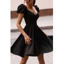 Formal Fancy Ladies' Puff Sleeve Sweetheart Neck Plain Pleated Midi A-Line Evening Dress