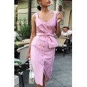 Trendy Cute Ladies' Sleeveless V-Neck Button Down Bow Tie Waist Stripe Pattern Slit Front Mid Sheath Cami Dress in Pink