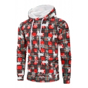Mens Simple Christmas Element Checked Pattern Long Sleeve Casual Red Hoodie